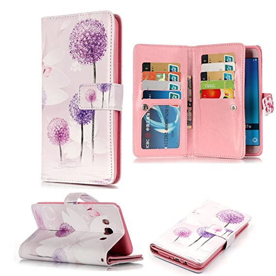 2c06cf8bcf6d XYX Galaxy J7 2016 Wallet Phone Case,[9 Card Slots][Purple  Dandelion][Relief Holster][Clear ID Window][Money Pocket] PU Leather Flip  Cover for Samsung ...