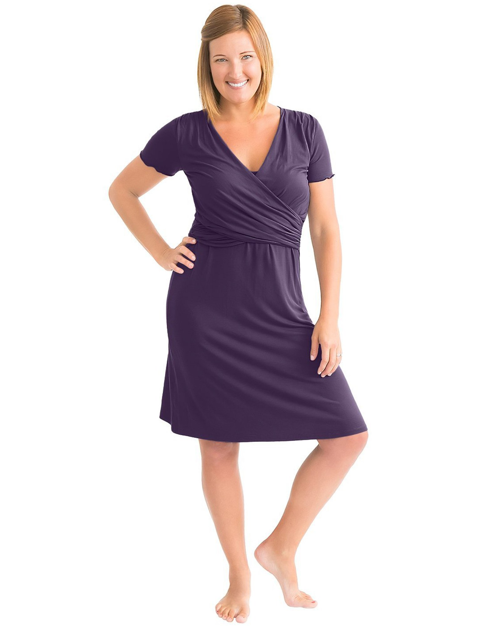 Kindred Bravely Angelina Ultra Soft Maternity & Nursing Nightgown Dress (Eggplant, Medium)