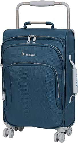 IT Luggage 22 World s Lightest 8 Wheel Spinner, Blue Ashes With Vapor Blue Trim, One Size