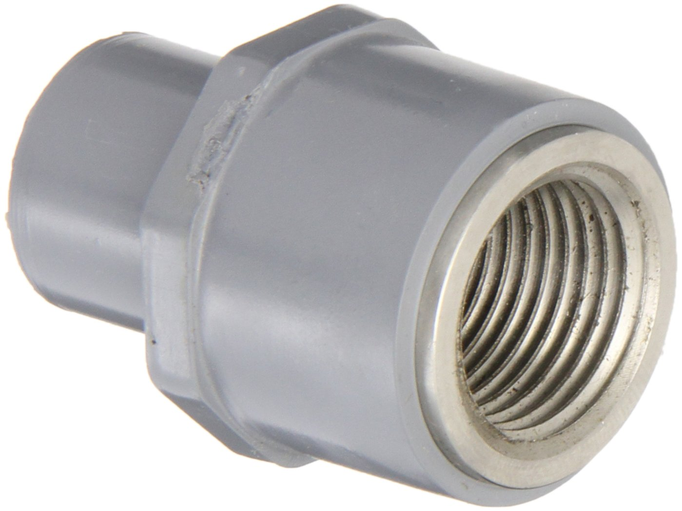 3//4 NPT Female x SPG Adapter GF Piping Systems CPVC to Stainless Steel 316 Transition Pipe Fitting Gray Schedule 80