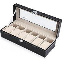 Readaeer - Caja para guardar 6 relojes con tapa de cristal, negra de piel sintética