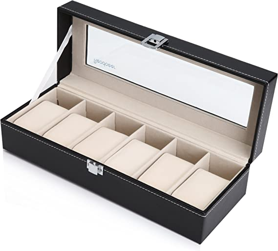 Readaeer - Caja para guardar 6 relojes con tapa de cristal, negra ...