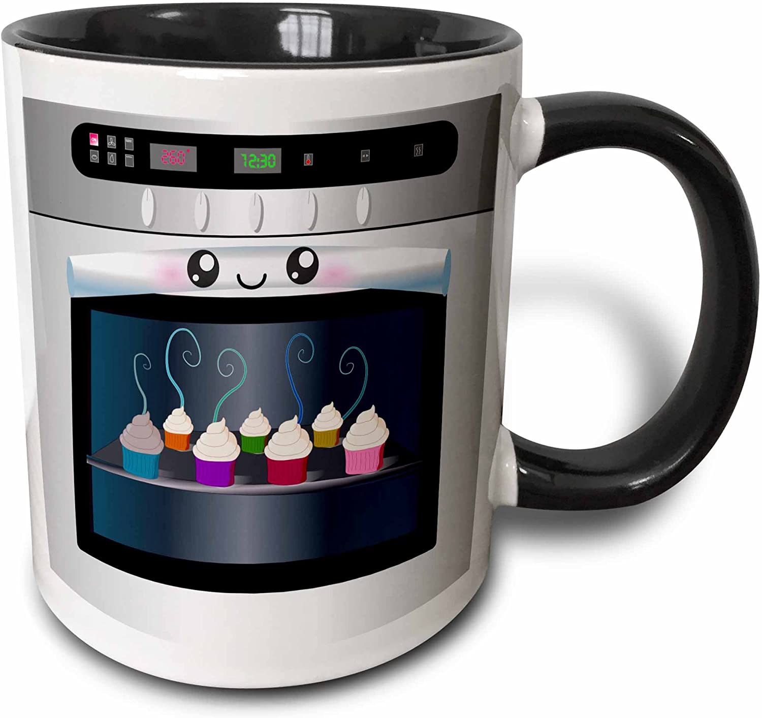 "3dRose mug_58309_4""Cute kawaii happy smiling oven filled with baking cupcakes - for chefs foodies and cooking fans"" Two Tone Black Mug, 11 oz, Multicolor"