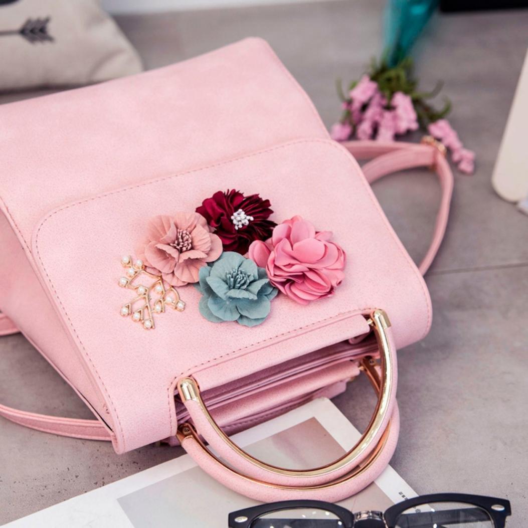 Aobiny Backpack Leisure Soft Leather Travel Backpack Shoulder Bag For Students (Pink)