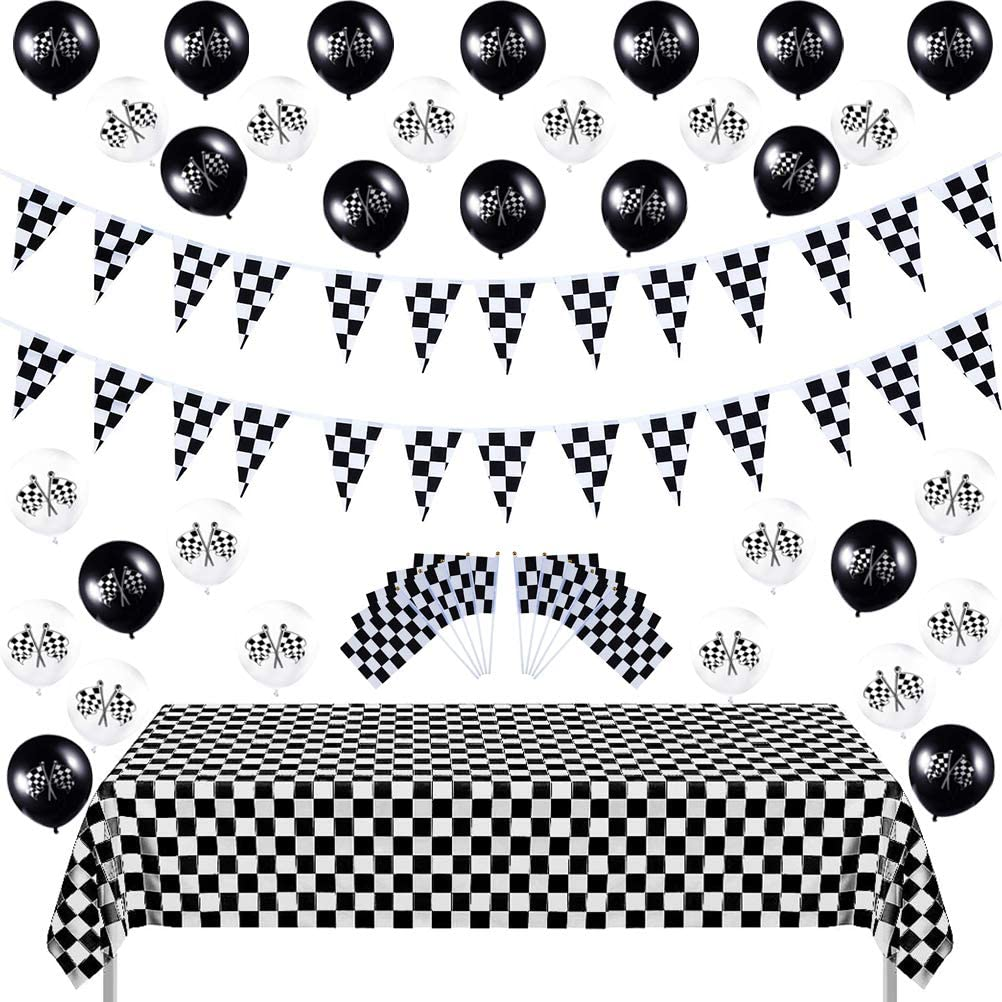 "Race Car Party Decorations - MeiMeiDa 30 PCS 8"" x 5.5"" Checkered Flag with Plastic Sticks + 32 FT Checkered Pennant Banner + 30 PCS Black&White Racing Car Balloons + 54"" x 108"" Checkered Tablecloth"