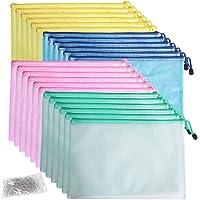 Qualsen 24 pcs Mesh Zipper File Bags A4, Waterproof Plastic Document Wallit Pouch for Cosmetics Office Supplies