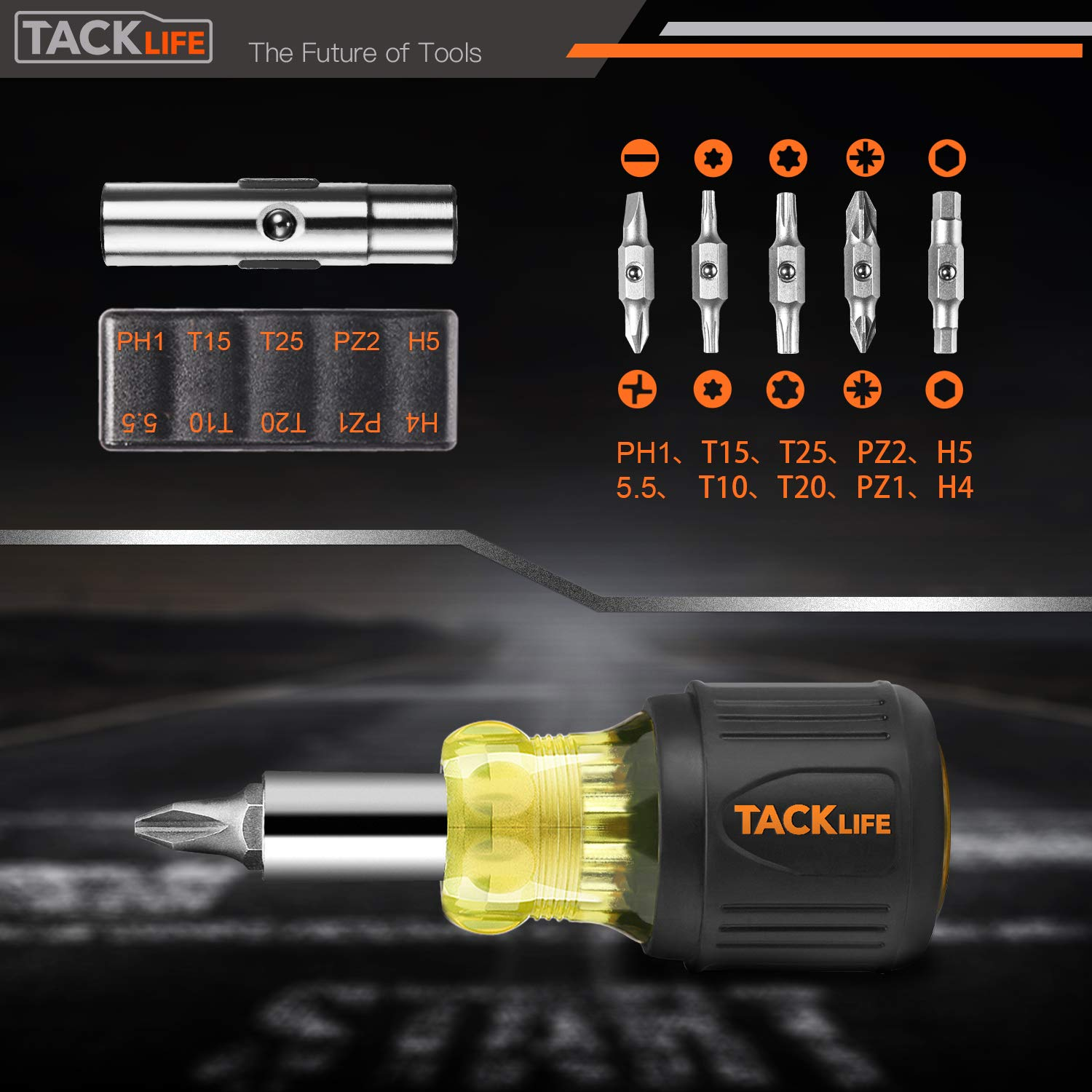 Nut Driver-HSS4B TACKLIFE 12-in-1 Stubby Screwdriver /& 2 Nut Driver Tight Spaces Interchangeable Multi-bit Drives,Phillips Hexagon Pozidriv Slotted Torx