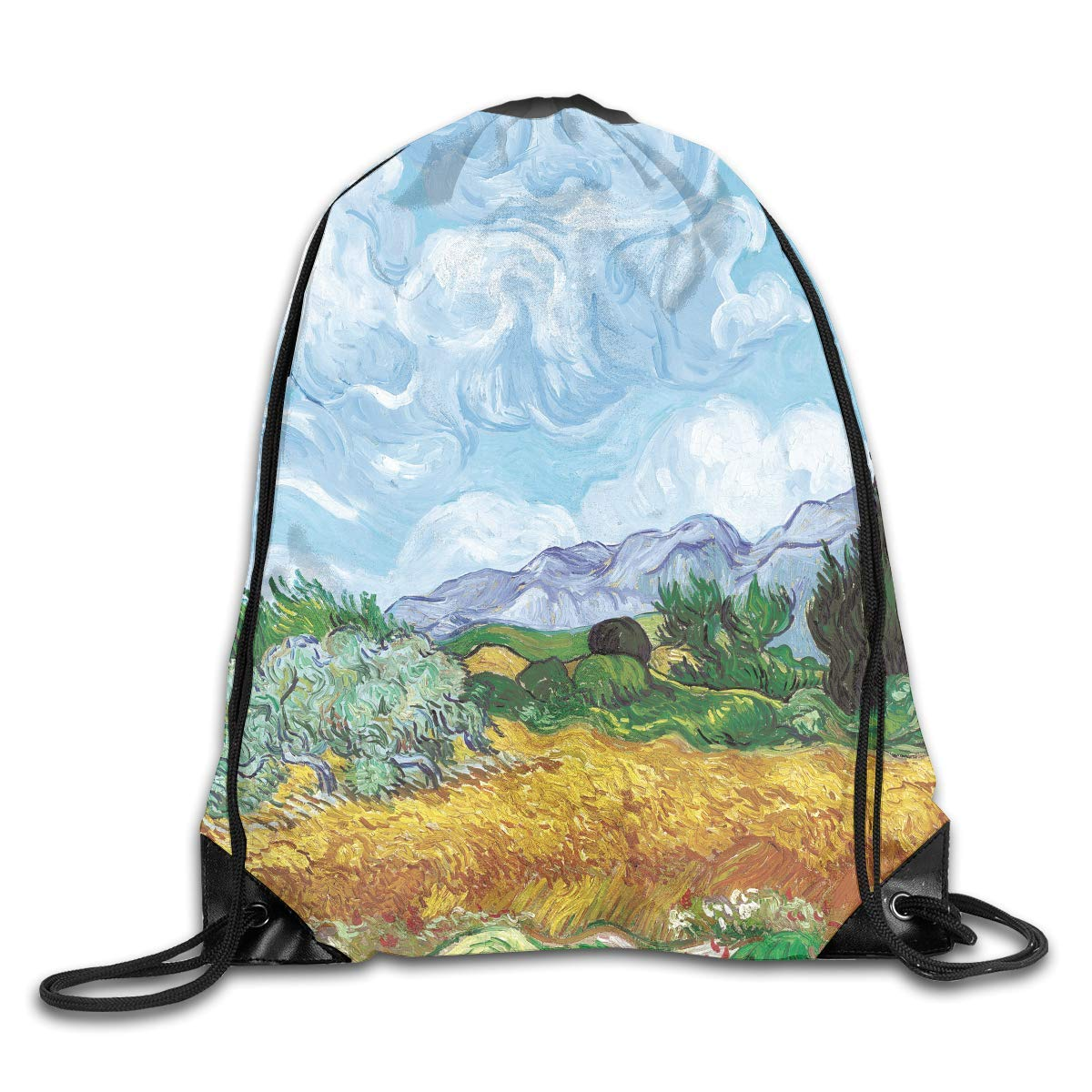 Liumiang Sacs à Dos,Sacs de Sport,Sacs à Cordon, Eco-Friendly Pirnt Wheat Field and Reaper Exotic Drawstring Bag for Traveling Or Shopping Casual Daypacks School Bags