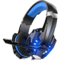 Mahmayi Kotion G9000 - Headband Headphones for Xbox One S / Xbox One / PS4 / tablet / laptop / mobile phone (0.138 in stereo jack, LED light) Blue.