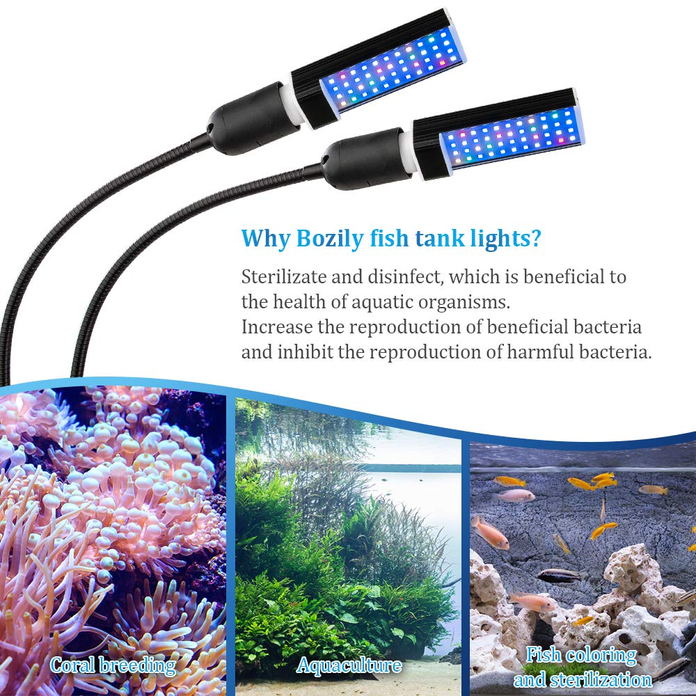 Bozily Aquarium Light Dimmable, Full Spectrum Freshwater Fish Tank Light with Replaceable Bulbs and Adjustable C-Clamp for Aquatic Plant Growth by Bozily (Image #2)
