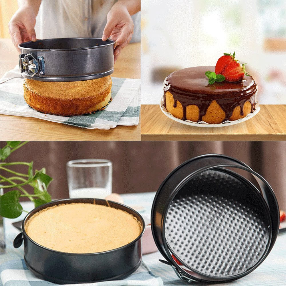 WARM MAISON Nonstick Springform Pan Set Leakproof 10.5inch Square 10 inch Round 9 inch Heart Baking Pie Cheese Cake Molds Pan Set with Quick Release Latch and Removable Bottom by WARM MAISON (Image #4)
