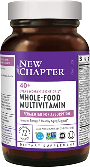 New Chapter Women's Multivitamin + Immune Support - Every Woman's One Daily 40+, Fermented with Probiotics + Vitamin D3 + B Vitamins + Organic Non-GMO Ingredients - 72 ct