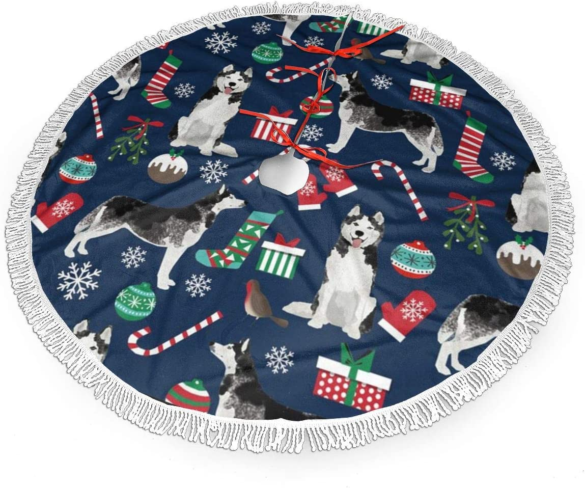 ULQUIEOR Cute Siberian Husky Christmas Dog Christmas Tree Skirt 48 Inch Xmas Tree Mat with Tassel Xmas Tree Ornament Holiday Christmas Decoration