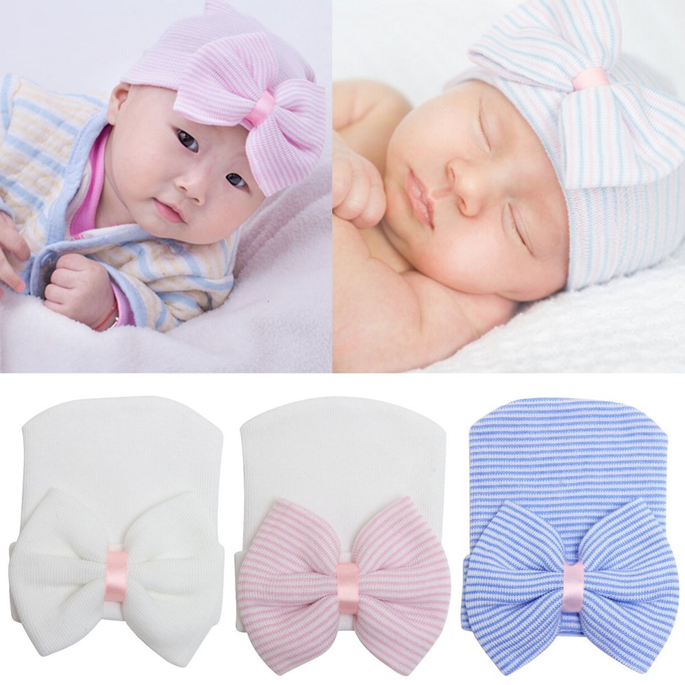 Little rock Cute Newborn Baby Infant Girl Toddler Comfy Bowknot Cap Beanie Hat