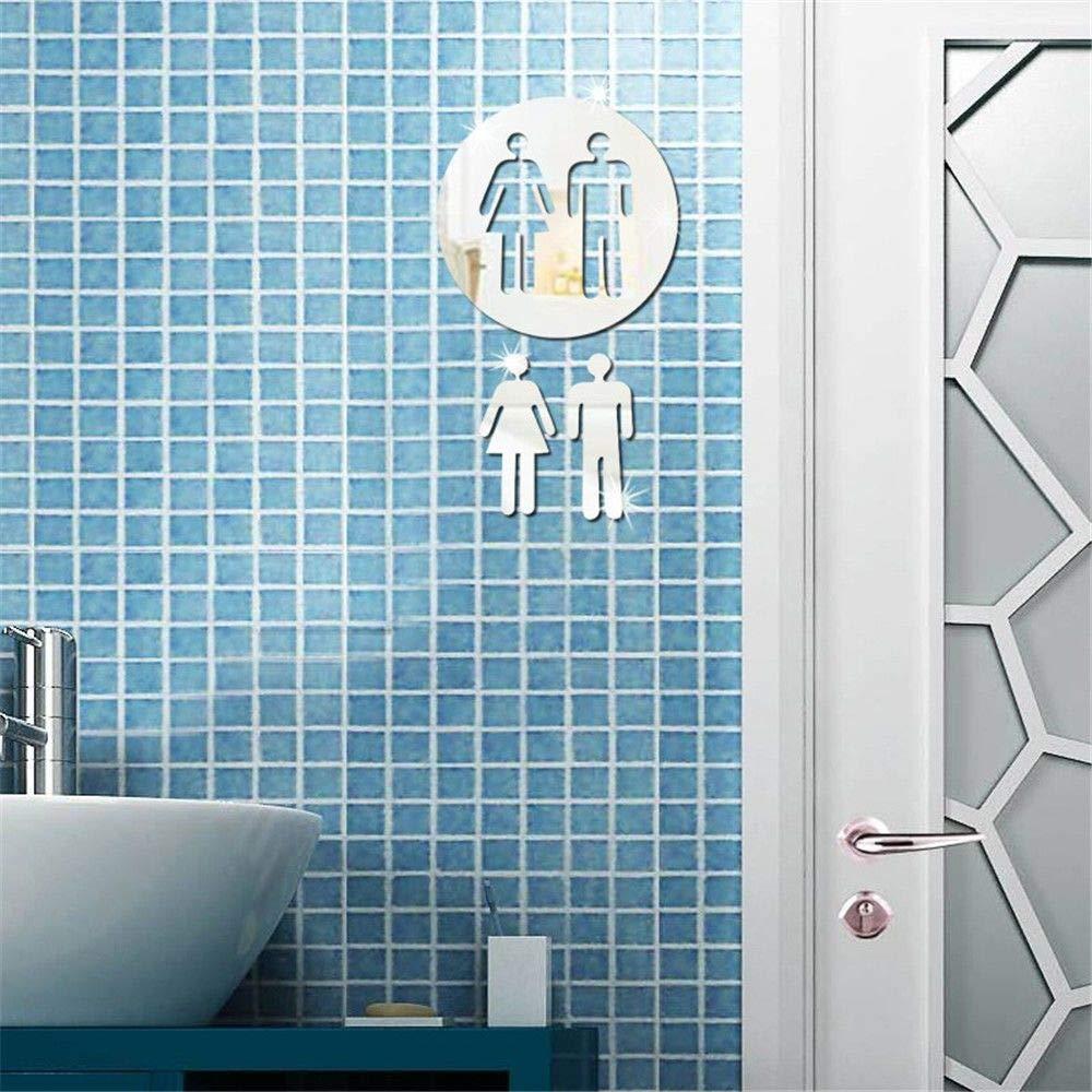 Personality Fashion Interior Mirror/Acrylic Three-Dimensional Mirror Wall Sticker Toilet Toilet Toilet Man and Woman Logo Decoration Sticker,Silver by MiZuJ