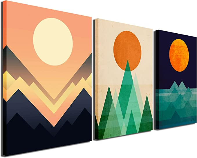 Gardenia Art Abstract Sunrise And Sunset Canvas Prints Wall Art Paintings Abstract Geometry Wall Artworks Pictures For Living Room Bedroom Decoration 16x12 Inch Piece 3 Panels Amazon Ca Home Kitchen