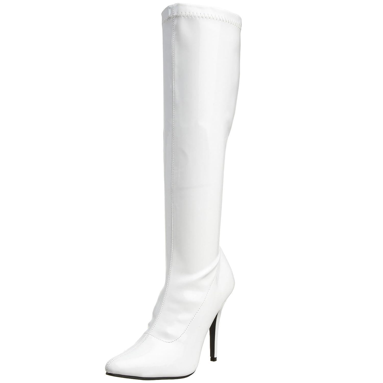 Pleaser Women's Seduce-2000 Knee-High Boot B001AU8QJQ 11 B(M) US|White Stretch Patent