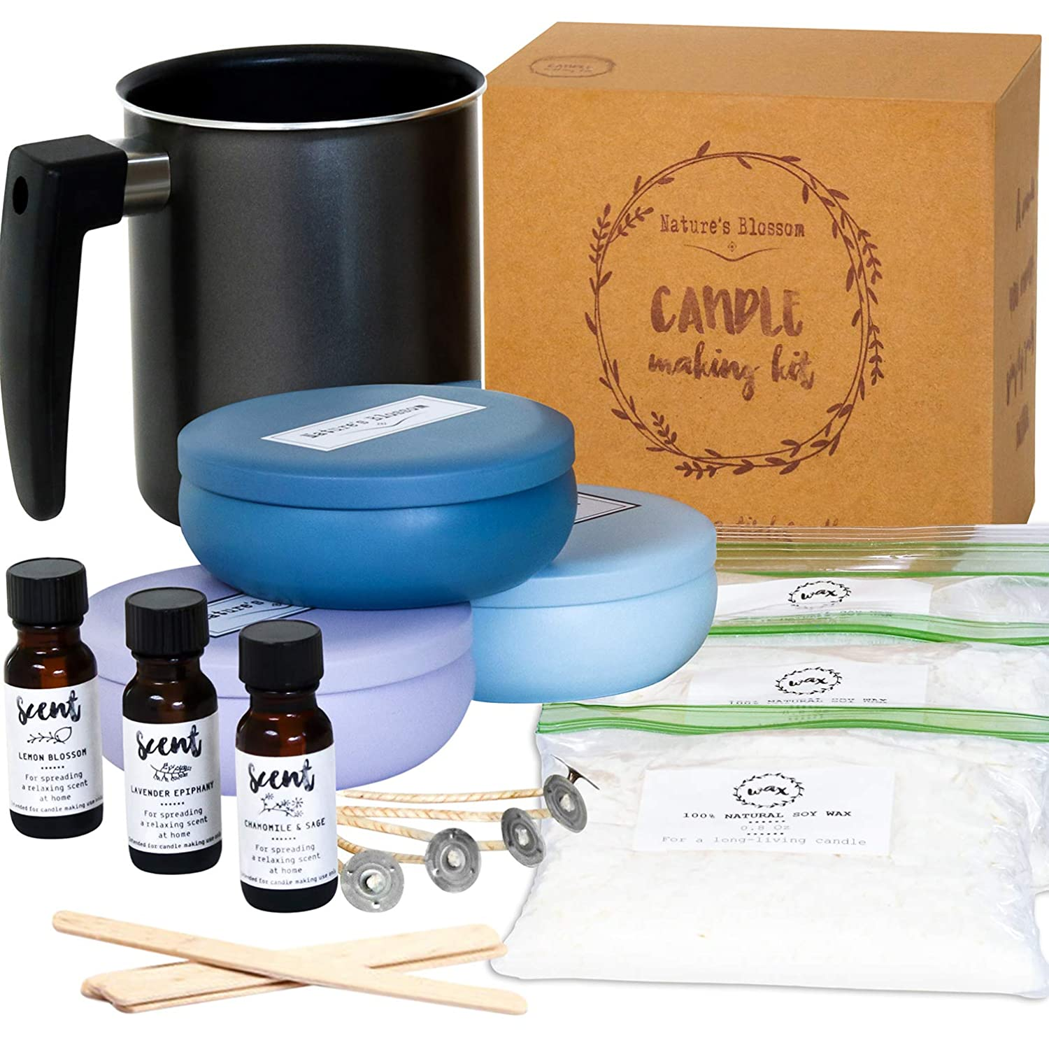 Nature's Blossom Candle Making Kit - DIY Starter Set to Create Premium Large Scented Candles. Included Supplies: Soy Wax, Melting Pitcher, Tin Containers, Wicks, Lemon, Lavender & Chamomile Fragrances Candle making supplies set