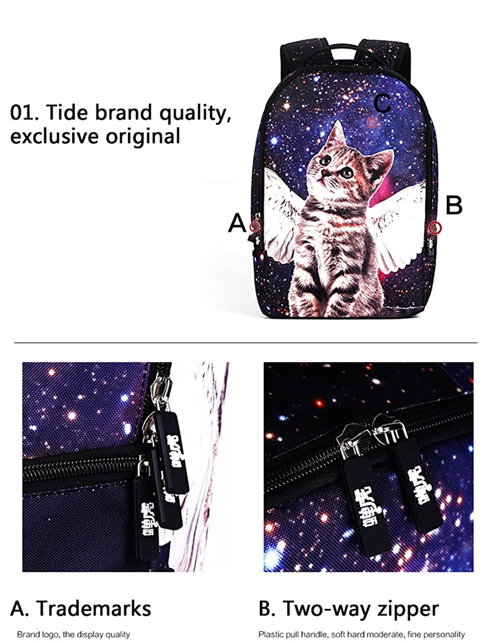 Galaxy Cat Printed School Backpack Lightweight Shoulder Bag for Teen Girls AB17050206