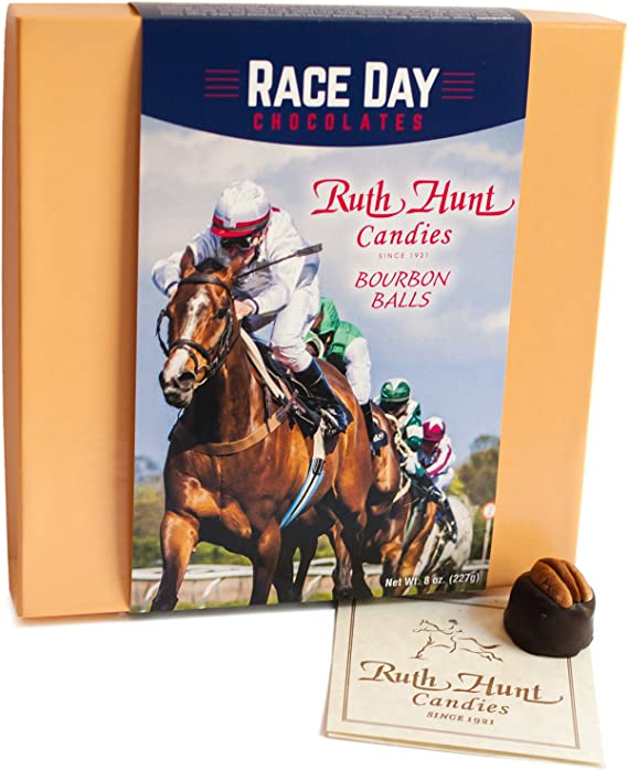 Kentucky Bourbon Balls Special Race Day Chocolates Edition Gift Box: 16 Candies