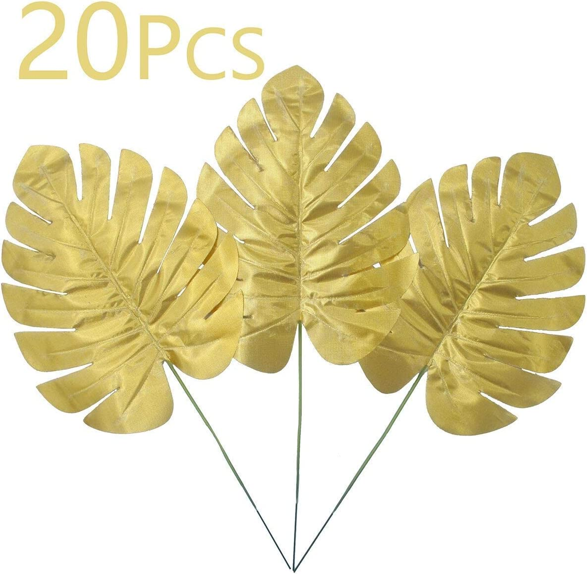 Warmter 20 Pcs Artificial Palm Artificial Plants Tropical Leaves Eucalyptus Branches for Home Wedding Birthday Havana Nights Party Decorations (Gold)