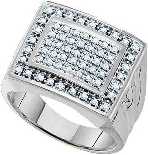 Sterling Silver Mens Round Diamond Micropave Flat Wedding Anniversary Band Ring 1//5 Cttw