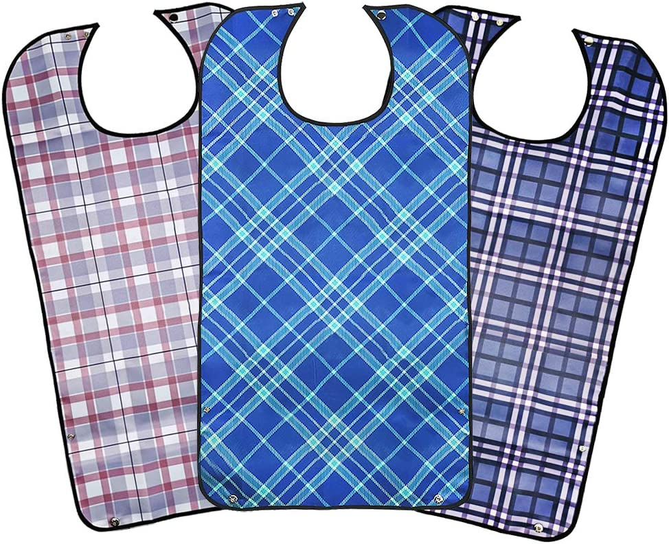 Adult Bibs for Eating, Washable Bibs for Adults Men and Women, Reusable Clothing Protectors with Crumb Pocket (3PCS)…