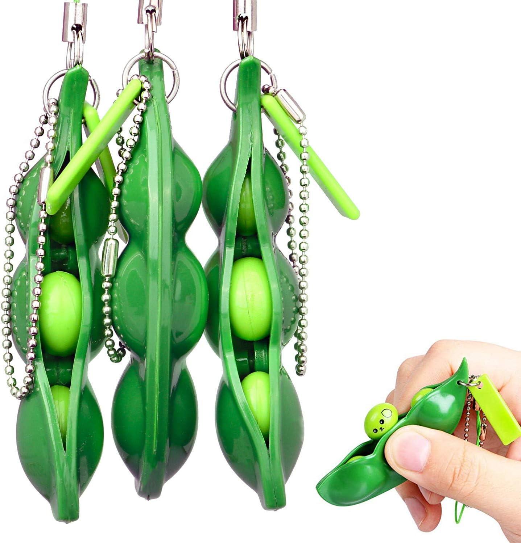 Rmeet Squishy Bean,3 Pack Porte-clé de Soja Squeeze-a-Bean para Niños Adluts Kawaii Squishy Fidget Toys para Reducir Ansiedad y Estrés: Amazon.es: Hogar