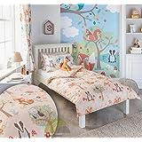 Woodland Animals Junior Toddler Quilt Duvet Cover and Pillowcase Bedding Bed Set Kids Fox Squirrel, Cream