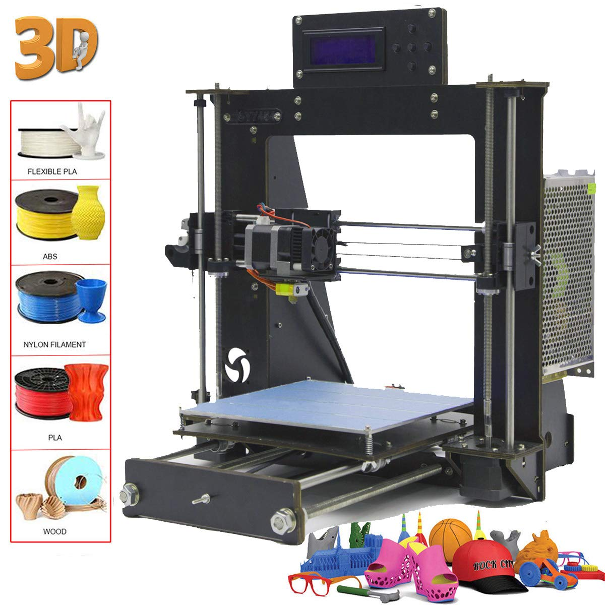 Win-Tinten 2018 New Desktop DIY 3D Printer Kits, High Accuracy Self-assembly, DIY Personal Portability 3D-Printers support CD Card included 1x1.75mm ABS/PLA Filament (View amazon detail page)