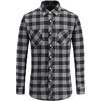 JEETOO Men Flannel Shirt Long Sleeve Buffalo Check Shirts