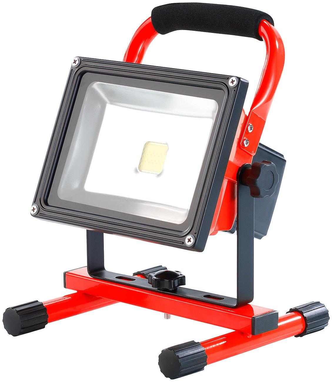 AGT LED Strahler Werkstatt: LED Akku Werkstatt Fluter 20 W, IP44 1300Lumen 5000K (Arbeitsleuchten) [Energieklasse A]