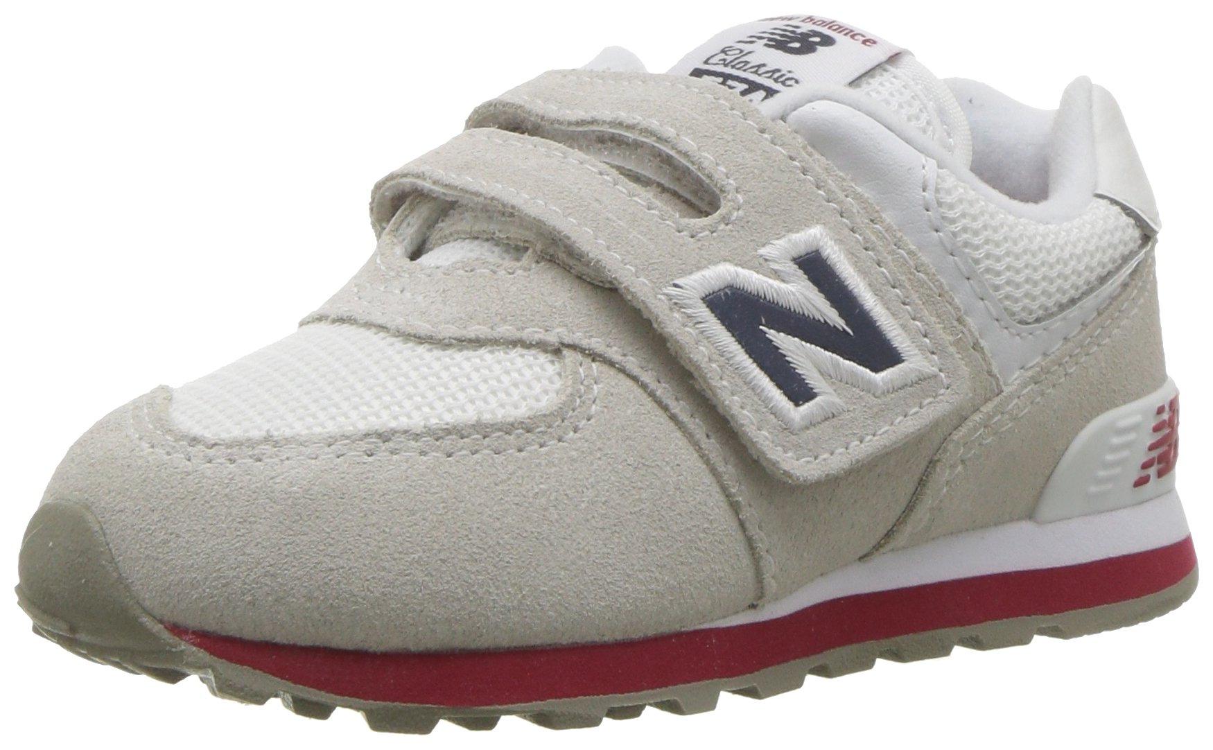 New Balance Boys' 574v1 Essentials Hook and Loop Sneaker, Nimbus Cloud/Navy, 3 W US Infant