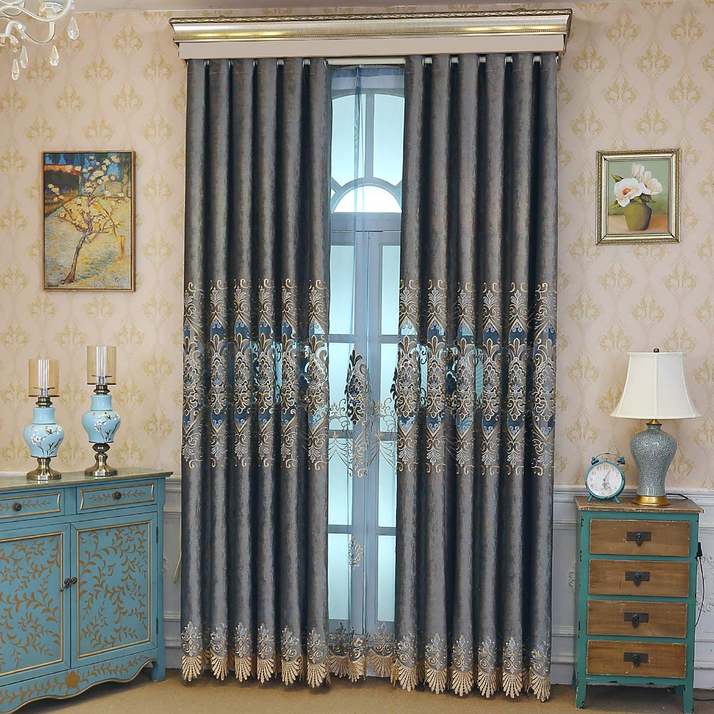AiFish Luxury European Window Draperies and Curtains for Dining Room Hollowed Cloth Curtains Dealicate Floral Embroidered Drape Panels with Grommets for Sliding Glass Door 1 Panel W39 x L84 inch by AiFish