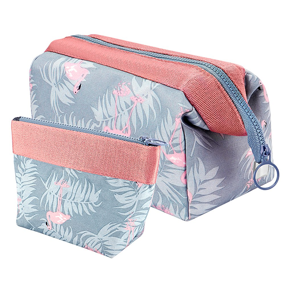 Vamei Make-up Taschen Kosmetiktasche Reise Kosmetiktasche Frauen Portable Make up Pouch Pack von 2 (Flamingo) HZB001