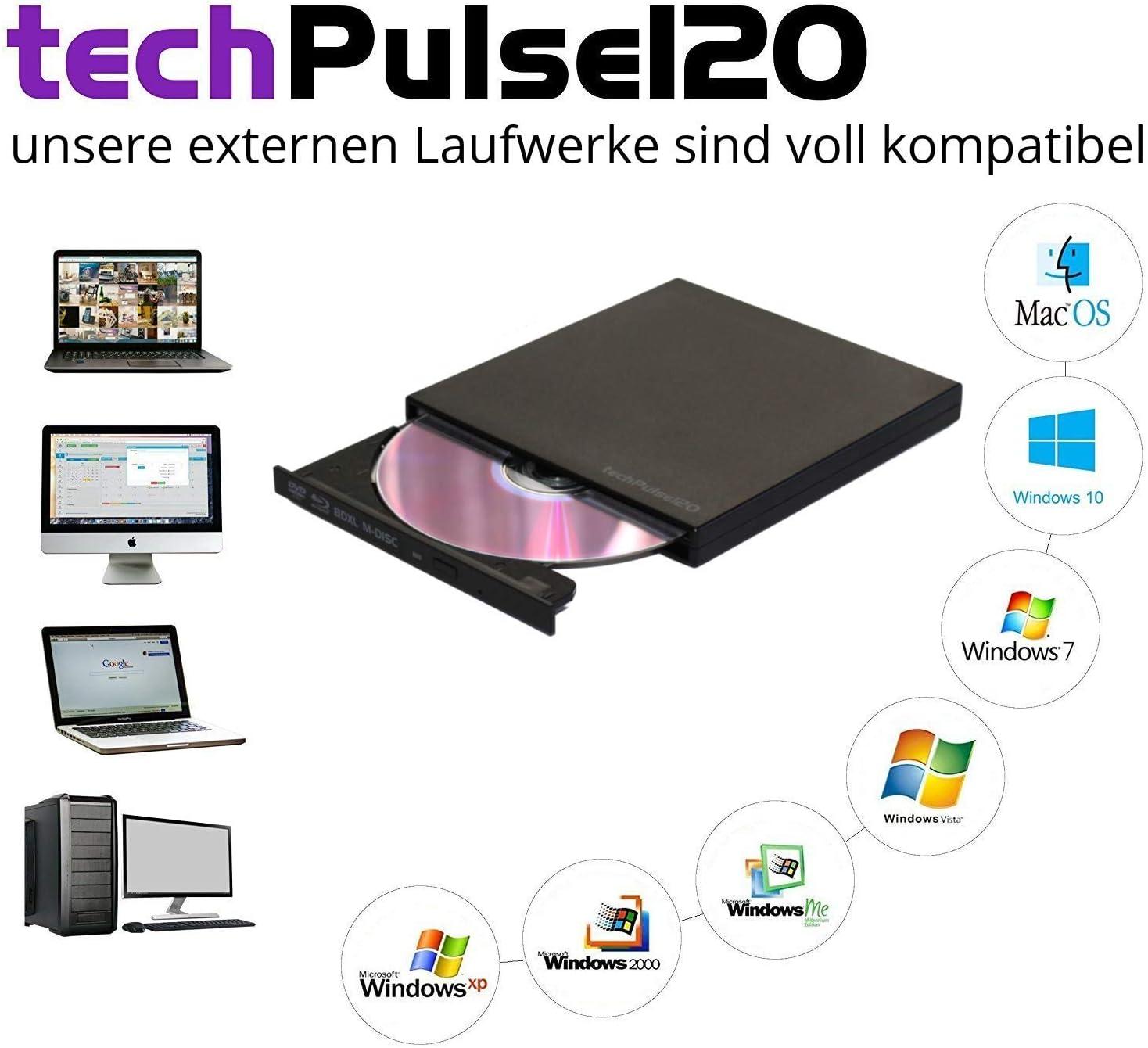 techPulse120 BLU-Ray Lector/Grabadora de BD/CD/DVD Unidad Externa ...