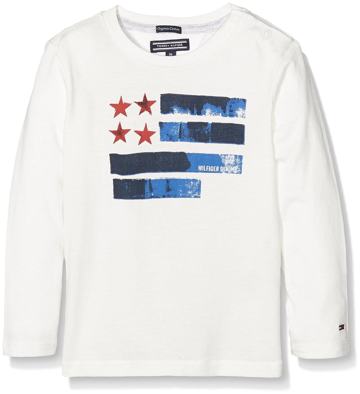 Tommy Hilfiger Jungen T-Shirt NY Colorblock CN Tee L S, Weiß (Snow White  118), 140 (Herstellergröße  10)  Amazon.de  Bekleidung afeccebcce