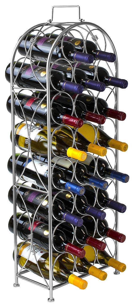 Sorbus Wine Rack Stand Bordeaux Chateau Style - Holds 23 Bottles of Your Favorite Wine - Elegant Looking French Style Wine Rack to Compliment Any Space - No Assembly Required (Silver)