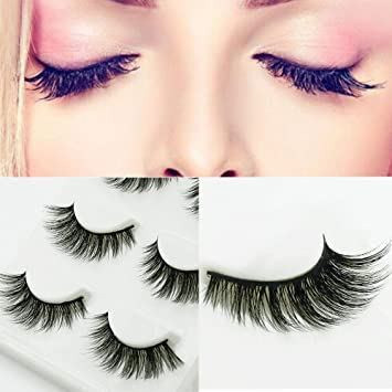 16a81d90457 Amazon.com : Smoothph Natural Black Makeup Fake Eyelashes Eyelash Extension  3D Real Mink Eyelash Women for Party : Beauty