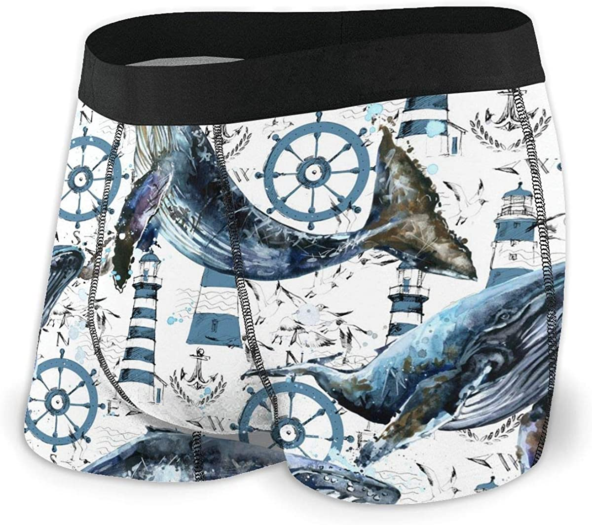 Whale Lighthouse Helm Sea Theme Mens Underwear Boxer Briefs Cotton Sport Trunks S-XXL