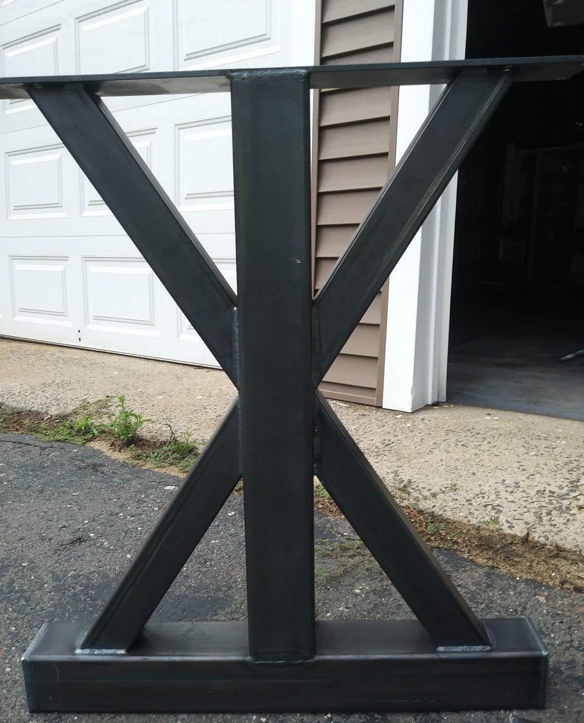 Amazon Com Metal Table Legs Trestle Table Style Raw Clear Coated Industrial Finish Custom Sizes Handmade In U S Handmade
