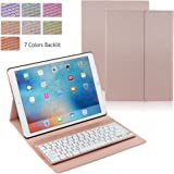 iPad Pro 12.9 Case with Keyboard, iEGrow F16S+ 7 Color Backlit Keyboard + Smart Folio PU Leather Case for iPad Pro 12.9 Inch 2015 Released (Gold Pink)