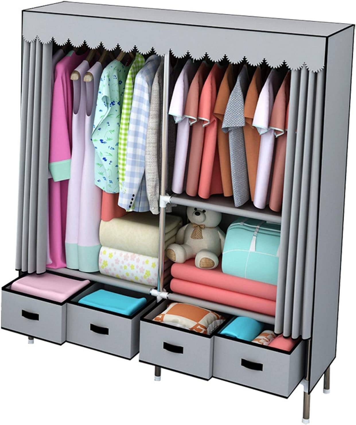 N/Z Home Equipment Canvas Wardrobe Portable Clothes Closet Wardrobe with Hanging Rack Non-Woven Fabric Storage Organizer with 4 Drawers (Color : Gray Size : 162x45x168cm)