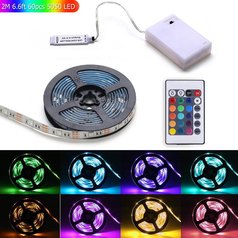 Led Light Strip Battery Powered,MEILLY RGB 2M / 6.6FT 60pcs 5050 Led Strip Light IP65 Waterproof Flexible Rope Lights, Color Changing Strip Lightings with 24 Key Remote Control (Red Green Blue)