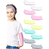 10 Pairs Kids UV Protection Sleeves Sun Protection Cooling Arm Sleeves Anti-Slip Ice Silk Arm Covers for Boys and Girls