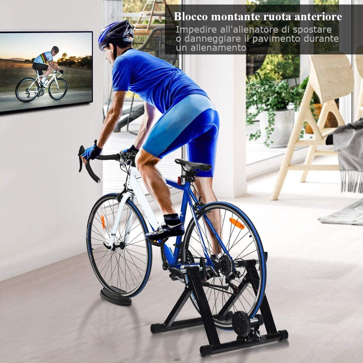 Nero COSTWAY Rullo Allenamento per Bicicletta Trainer Bici Fitness per Allenamento in Casa