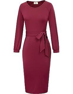 13fd1ab110f9d GRACE KARIN Women Long Sleeve Wear to Work Pencil Dress with Belt CLAF0248