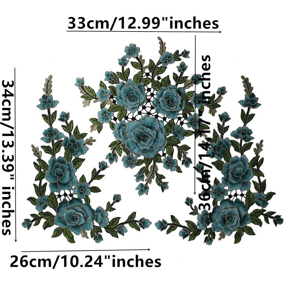 1set//3pieces 3d Fleur Broderie patchs en dentelle de mariage Applique Or m/étallique /à coudre en relief Triming Craft Couture Accessoires Orange