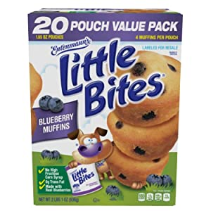 Entenmanns Little Bites Muffins 20 Pouches/80 Muffins Bonus 1 Individual Entenmanns Apple Pie (Blueberry)