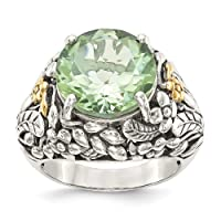Sterling Silver and 14k Yellow Gold Green Quartz Engagement Ring Size 8